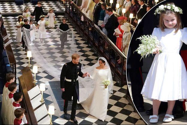 Mariage de Meghan Markle et du prince Harry, le 19 mai 2018. A droite, la princesse Charlotte de Cambridge, fille du prince William et de Kate Middleton
