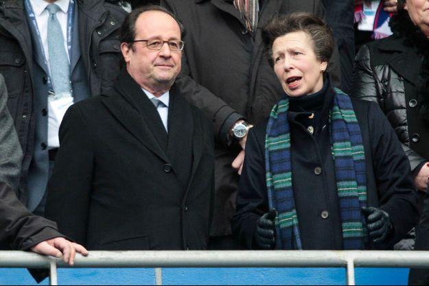 La princesse Anne avec François Hollande au Stade de France, le 12 février 2017
