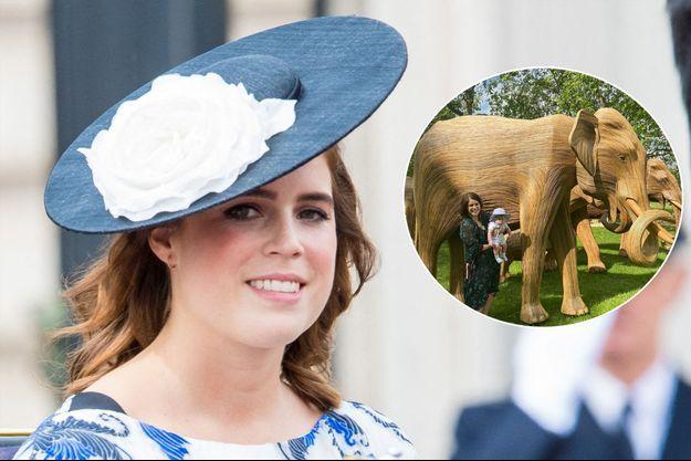 La princesse Eugenie d'York le 8 juin 2019. En vignette, avec son fils August Brooksbank fin juin 2021