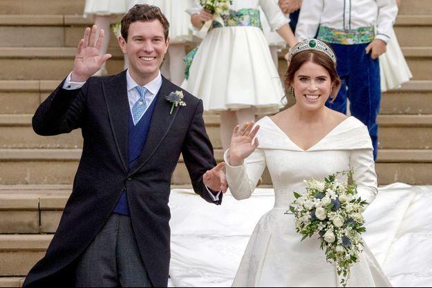 La princesse Eugenie d'York et Jack Brooksbank le 12 octobre 2018, jour de leur mariage