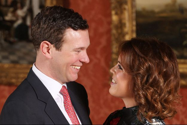La princesse Eugenie d'York et Jack Brooksbank, le 22 janvier 2018 lors de l'annonce de leurs fiançailles