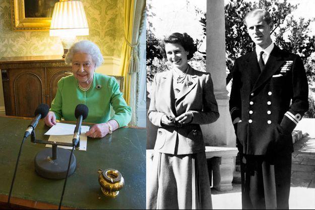 """Elizabeth II enregistre son """"Commonwealth Day message"""" à Londres le 12 février 2015 - Elizabeth alors princesse avec Philip Mountbatten à Malte, le 25 novembre 1949"""