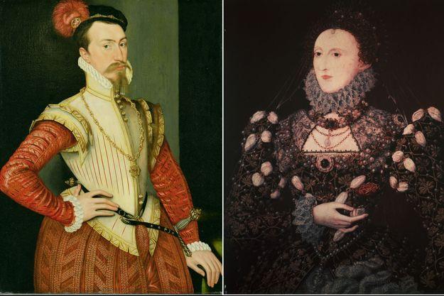 Portraits de Robert Dudley (vers 1560) et de la reine Elizabeth I d'Angleterre (vers 1565)