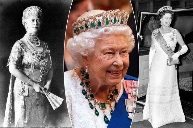 La reine Mary et sa petite-fille la reine Elizabeth II (les 11 décembre 2019 et 15 juin 1972) portant la Vladimir tiara