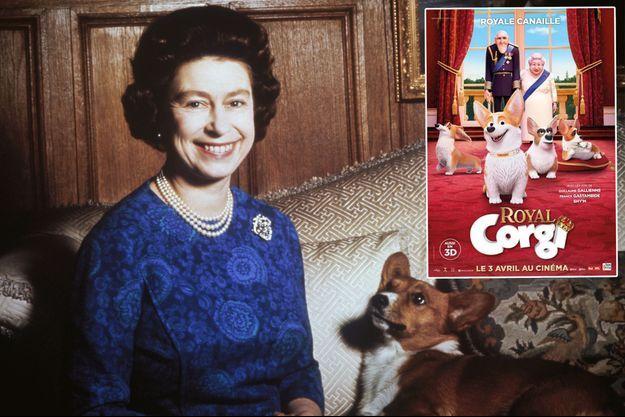"""La reine Elizabeth II avec l'un de ses corgis, en 1970. En vignette, l'affiche du film """"Royal Corgi"""""""