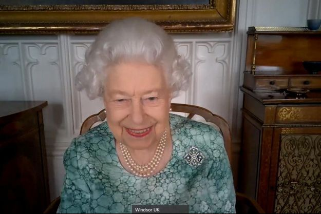 La reine Elizabeth II lors de sa visioconférence du 10 mars 2021, dans le cadre de la Semaine britannique de la science