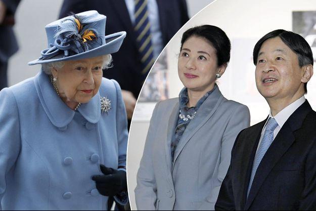 La reine Elizabeth II, le 9 mars 2020. L'empereur Naruhito du Japon et l'impératrice Masako, le 10 février 2020
