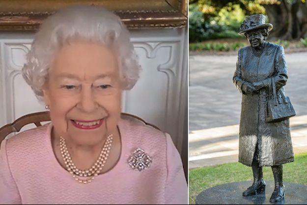 La reine Elizabeth II en visioconférence avec l'Australie, le 24 février 2021. A droite, sa statue à Adélaide