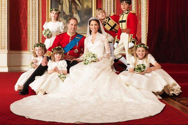 Kate Middleton dans sa robe de mariée Alexander McQueen le 29 avril 2011, jour de ses noces avec le prince William