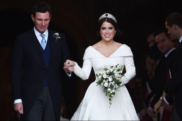La princesse Eugenie d'York et Jack Brooksbank le jour de leur mariage à Windsor, le 12 octobre 2018