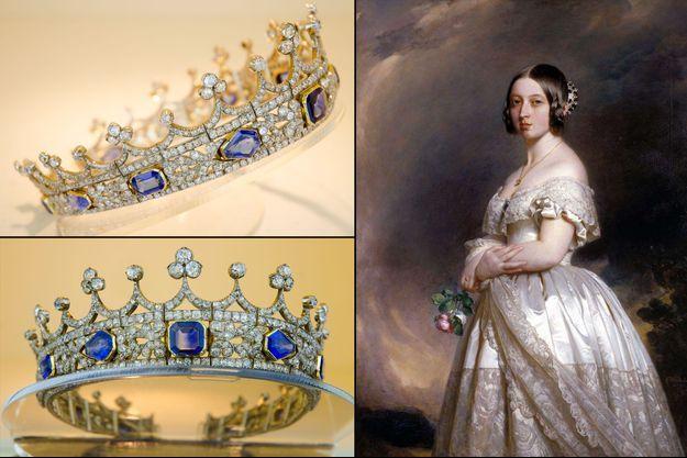 La tiare en saphirs et diamants de la reine Victoria - A droite: Victoria la porte en 1842 sur son portrait par Franz Xaver Winterhalter