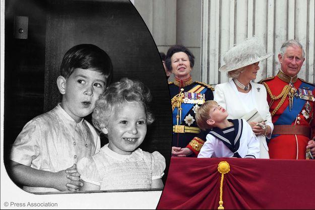 Le prince Charles d'Angleterre et sa soeur la princesse Anne en uniforme à Londres, le 11 juin 2016. A gauche, Charles et Anne enfants.