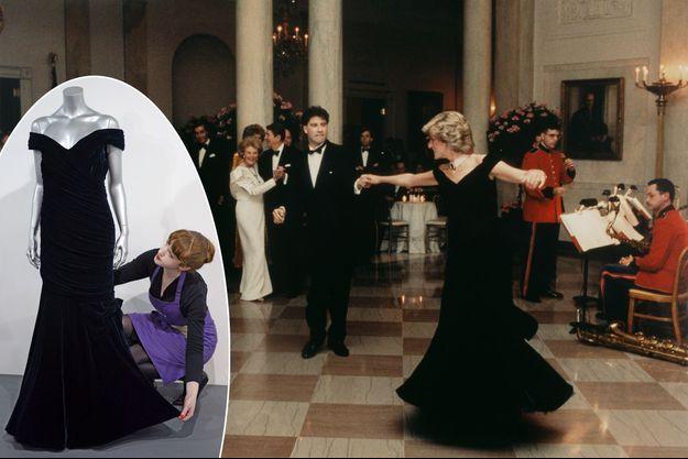 Lady Diana et John Travolta à Washington, le 9 novembre 1985. En vignette, la robe présentée lors d'une vente précédente, en mars 2013, chez Kerry Taylor.