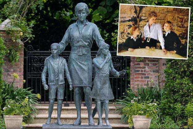 La statue de la princesse Diana dans les jardins de Kensington Palace à Londres dévoilée le 1er juillet 2021. En vignette, sa tenue sur sa carte de voeux 1993