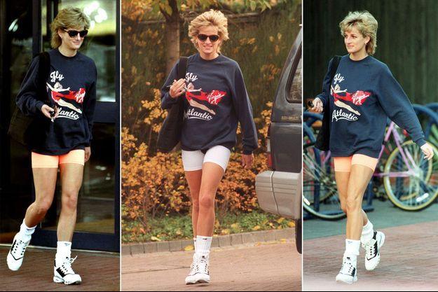 """Lady Diana porte son jumper """"Virgin Atlantic"""" à Londres les 17 et 20 novembre 1995"""