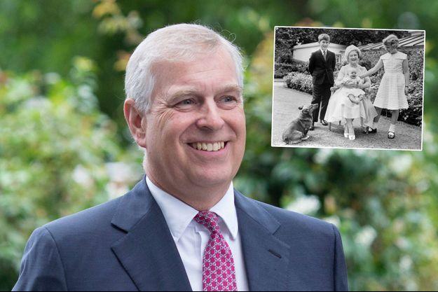 Le prince Andrew, le 27 juillet 2019. En vignette, avec sa grand-mère la Queen Mum, le prince Charles et la princesse Anne, en 1960