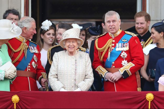 Le prince Andrew avec la reine Elizabeth II et la famille royale, le 8 juin 2019