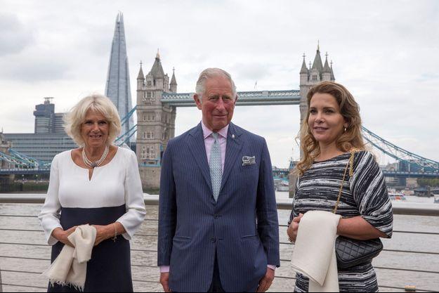 Le prince Charles et la duchesse de Cornouailles Camilla avec la princesse Haya de Jordanie à Londres, le 5 septembre 2018