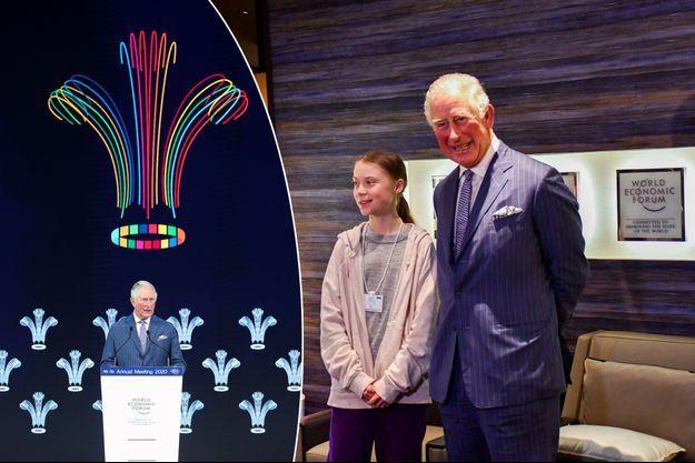 Le prince Charles au Forum économique mondial de Davos, le 22 janvier 2020. A droite, avec Greta Thunberg