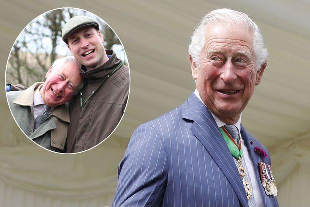 Le prince Charles, le 18 juin 2020. En vignette, avec son fils aîné le prince William, en décembre 2019