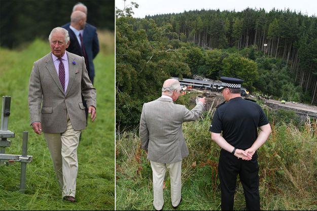 Le prince Charles sur les lieux du déraillement d'un train à Stonehaven en Ecosse, le 14 août 2020