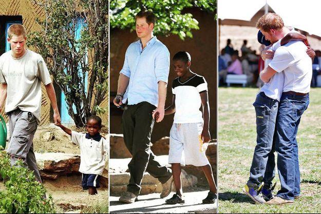 Le prince Harry et Mutsu Potsane en 2004, en 2014 et le 26 novembre 2015 pour l'inauguration du Centre pour enfants Mamohato