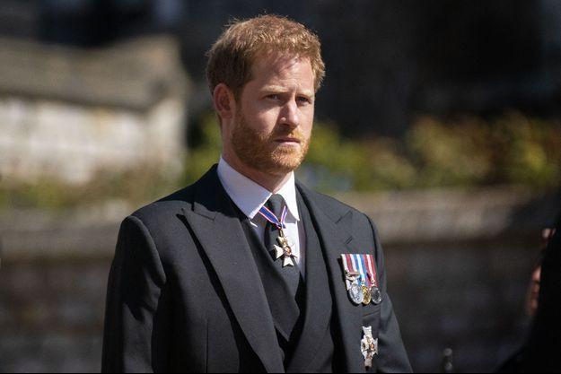 Le duc de Sussex aux funérailles du prince Philip le 17 avril 2021 à Windsor