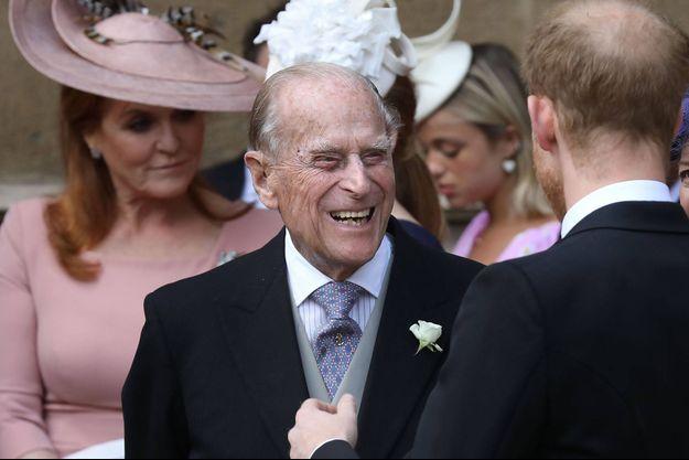 Le prince Philip à Windsor, avec le prince Harry et Sarah Ferguson, le 18 mai 2019