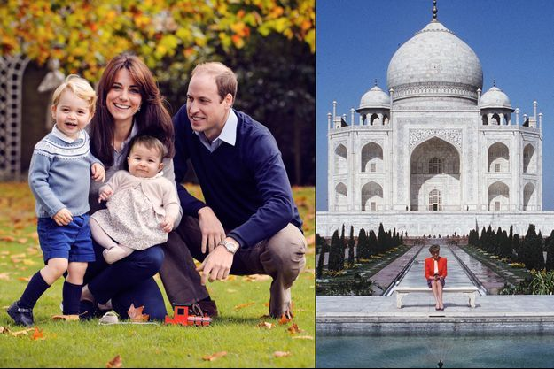 Le prince William, Kate Middleton, le prince George, la princesse Charlotte, et Diana devant le Taj Mahal