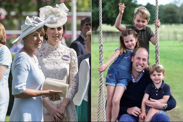 Kate Middleton avec sa mère Carole Middleton et les petits Cambridge avec leur père le prince William