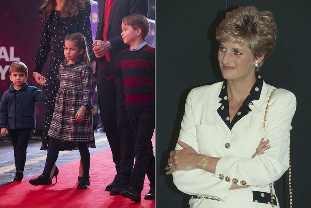 Louis, Charlotte et George de Cambridge en 2020 et la princesse Diana en 1993
