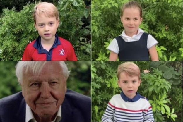 George, Charlotte et Louis de Cambridge posent leurs questions au naturaliste et scientifique David Attenborough