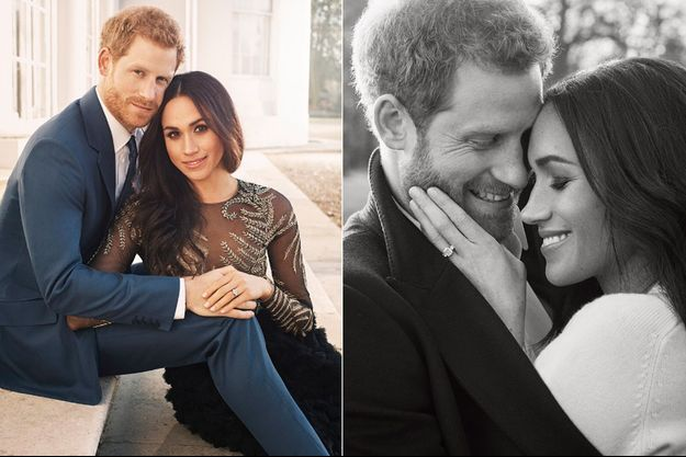 Le prince Harry et Meghan Markle posent pour les photos officielles de leurs fiançailles.