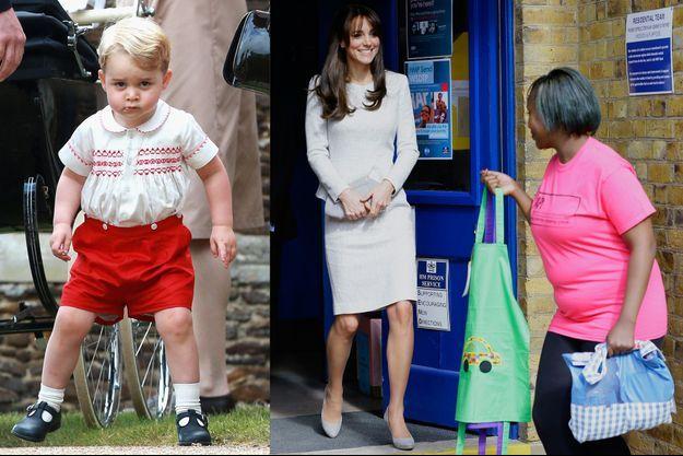 La duchesse de Cambridge se voit offrir un tablier pour son fils le prince George (à gauche le 5 juillet au baptême de sa petite sœur la princesse Charlotte) lors de sa visite à la prison de Send, le 25 septembre 2015