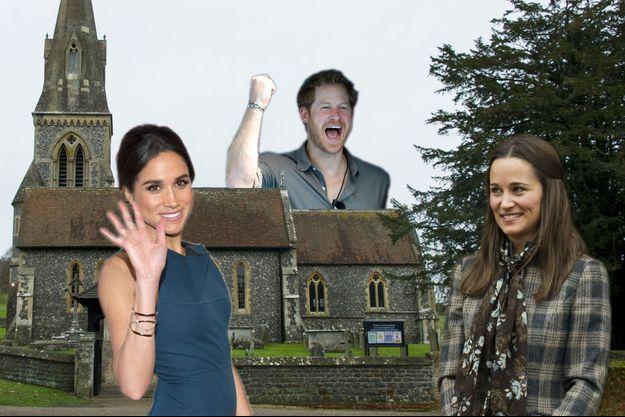 Meghan Markle, Pippa Middleton et le prince Harry devant l'église St Mark's, où aura lieu le mariage de la soeur de Kate.
