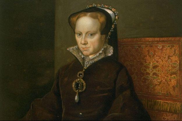 Détail du portrait de la reine Marie Ière par Antonio Moro, vers 1553 (Musée du Prado, Madrid)