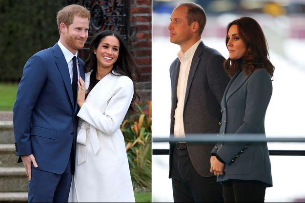 Meghan Markle et le prince Harry le 27 novembre 2017 - Kate Middleton et le prince William le 18 octobre 2017