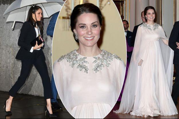 Meghan Markle à Londres et Kate Middleton à Oslo, en Alexander McQueen, le 1er février 2018