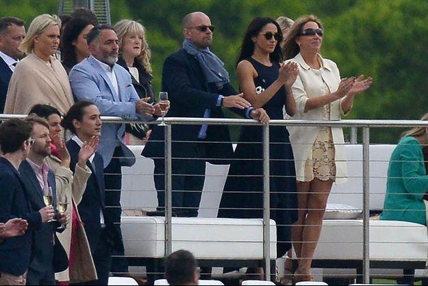 L'actrice Meghan Markle (deuxième en partant de la droite) a assisté au match de polo du Prince Harry.