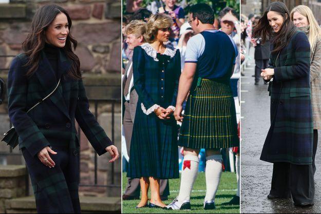 Meghan Markle à Edimbourg, le 13 février 2018 - Lady Diana à Bute, le 22 août 1987