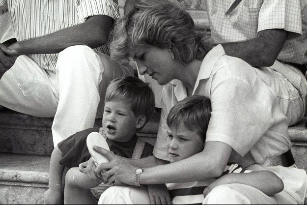 Diana, Harry et William en août 1988.