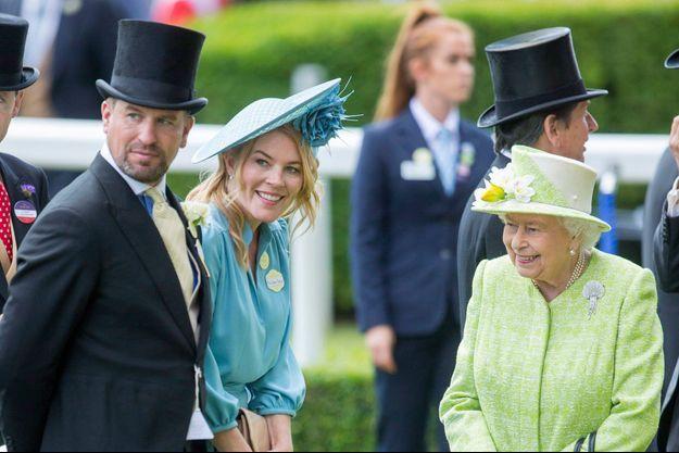 Peter et Autumn Phillips avec la reine Elizabeth II à Ascot, le 22 juin 2019