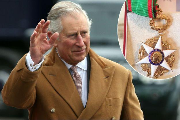 Le prince Charles le 18 mars 2017. En médaillon : la décoration de commandeur de l'ordre du Mérite agricole qui lui a été remise.