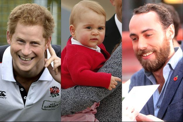 Le prince George entre ses deux oncles cools, le Prince Harry et James Middleton.
