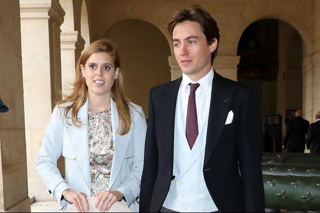 La princesse Beatrice d'York et son fiancé Edoardo Mapelli Mozzi à Paris, le 19 octobre 2019