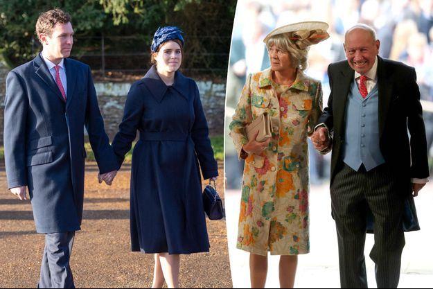 La princesse Eugenie d'York et son mari Jack Brooksbank, le 25 décembre 2019. George et Nicola Brooksbank à leur mariage, le 12 octobre 2018