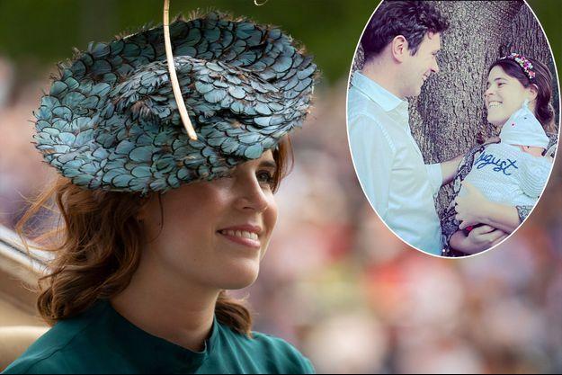 La princesse Eugenie d'York au Royal Ascot, le 20 juin 2019. En vignette, avec son mari Jack Brooksbank et leur fils August, photo partagée le 24 mars 2021