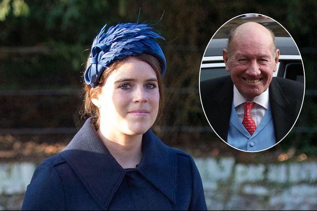 La princesse Eugenie d'York, le 25 décembre 2019. En vignette: George Brooksbank au mariage de son fils avec la princesse Eugenie, le 12 octobre 2018