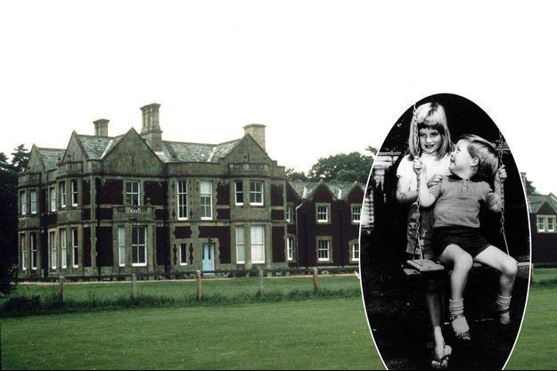 Park House à Sandringham, dans les années 1980. En vignette: Diana, à 6 ans, et son petit frère Charles Spencer à Park House