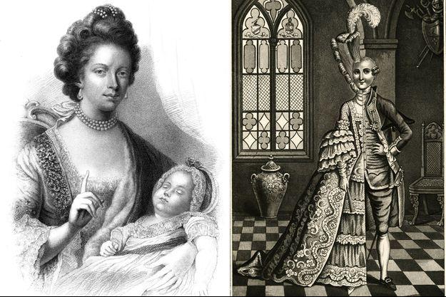 La reine Charlotte d'Angleterre et son fils aîné, le futur roi George IV (par Henry Adlard) - Charles d'Eon de Baumont, gravure le montrant mi-homme, mi femme